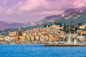 Town of Menton on French Riviera. — Stock Photo
