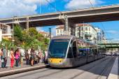 Tramway at the stop in Nice, France. — Stock Photo