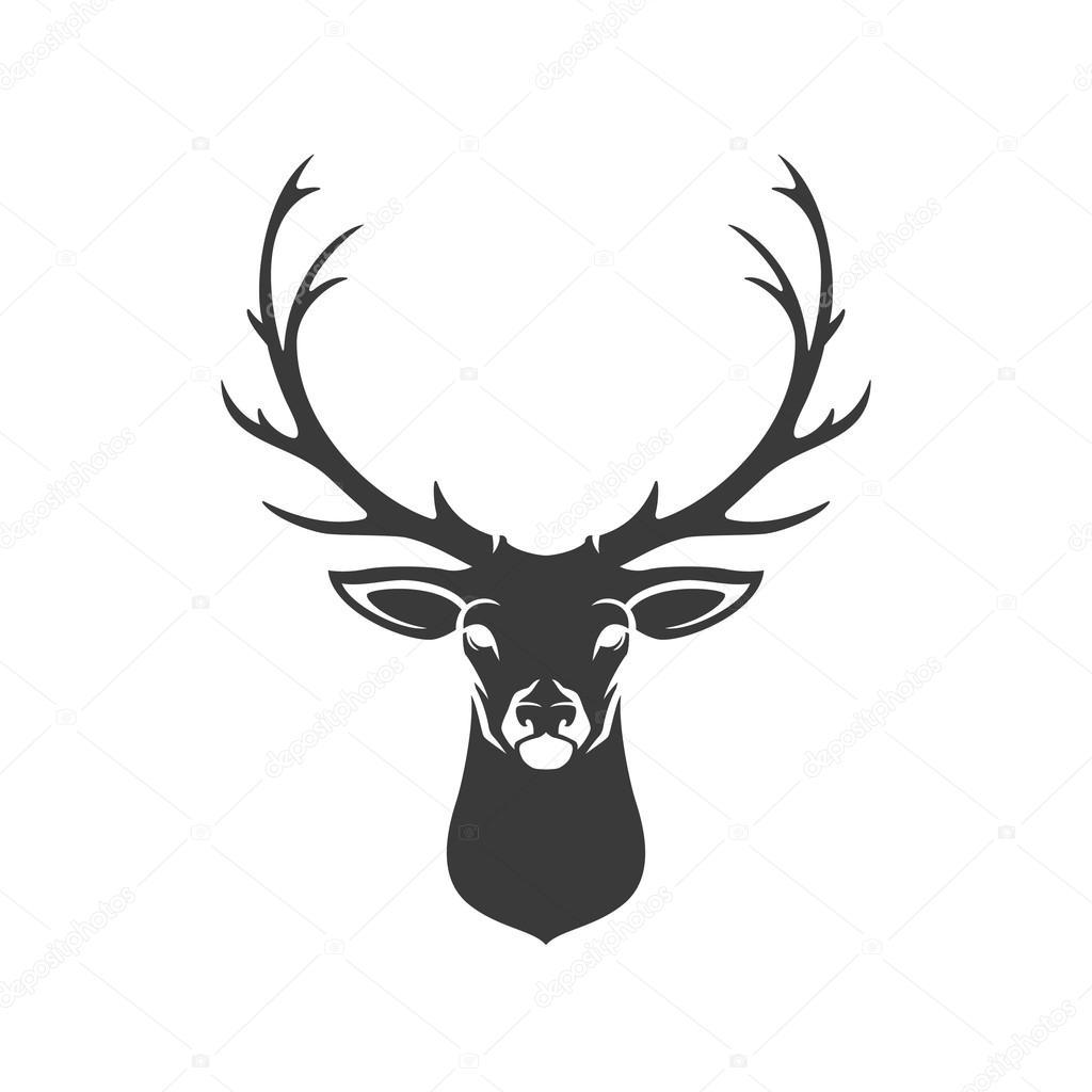 Deer head antlers silhouette