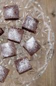 Home made brownies with powdered sugar  — Stock Photo