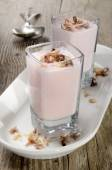 Strawberry mousse in a shot glass — Stock Photo