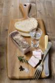 Fat bacon with bread and vodka — Stock Photo