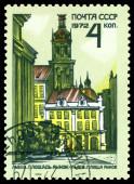 Vintage  postage stamp. Market Square. Lvov. — Stock Photo