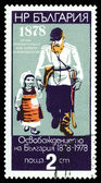 Vintage postage stamp.  Old Soldier with Grandchild. — Stock Photo
