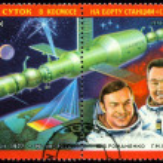 Постер, плакат: Vintage postage stamp Astronauts Romanenko and Grechko