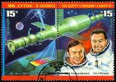 Vintage  postage stamp. Astronauts  Romanenko and Grechko. — Stock Photo