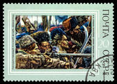 Vintage  postage stamp. Conquest of Siberia by Yermak, by Vasily — Stock Photo