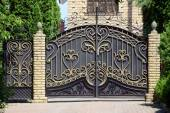 Forged gates and gate. — Stock Photo
