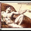 Vintage postage stamp. The Creation of Adam, Rim, by Michelan — Stock Photo #54738111