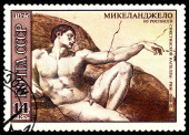 Vintage  postage stamp.  The Creation of Adam, Rim, by  Michelan — Stock Photo