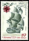 """Vintage  postage stamp. Sailing warship an """"Ingermanland"""". — Stock Photo"""