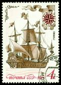 "Vintage  postage stamp. Sailing warship an ""Eagle"". — Stock Photo"