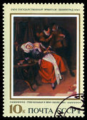 Vintage  postage stamp. Sick Woman and Phisician, by Jan Steen. — Stock Photo