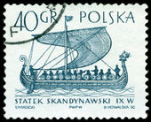 Vintage postage stamp.  The Ancient scandinavian warship viking. — Stock Photo