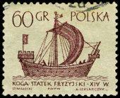 Vintage postage stamp.  Ancient Frisian sailing ship . — Stock Photo