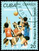 Vintage  postage stamp. Feminine basketball. — 图库照片