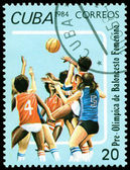 Vintage  postage stamp. Feminine basketball. — Fotografia Stock