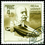 Постер, плакат: Vintage postage stamp Ferdinand Von Zeppelin Airship LZ 4