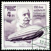 Vintage postage stamp. Ferdinand Von Zeppelin. Airship LZ-10. — Stock Photo