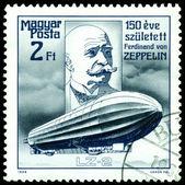 Vintage postage stamp. Ferdinand Von Zeppelin. Airship LZ-2. — Stock Photo