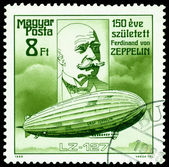 Vintage postage stamp. Ferdinand Von Zeppelin. Airship LZ-127. — Stock Photo