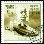 Vintage postage stamp. Ferdinand Von Zeppelin. Airship LZ-4. — Stock Photo