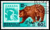 Vintage  postage stamp. Eurasian  Brown Bear and Canada. — Stock Photo