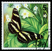 Vintage  postage stamp.   Heliconius charithonius ramsdeni. — Stock Photo