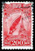Vintage postage stamp.   Airship Santos - Dumonts. — Stock Photo