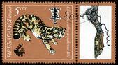 Vintage postzegel. Wilde kat. — Stockfoto