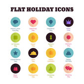 Set of flat icons for main national holidays — Stock Vector