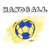 Doodle handball on watercolor background — Stock Vector