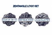 Detailed hand drawn zentangle logo set — Vecteur