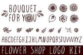 Logo kit for flower shops — Stock Vector