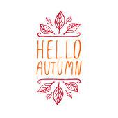 Hello Autumn - typographic element — Stock Vector