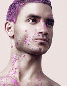 Man with abstract bodyart — Stock fotografie