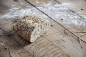 Fresh retro vintage bread on the wooden — Stok fotoğraf