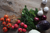 Fresh farmers market vegetable from above with copy space — Stock Photo