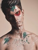 Man with abstract bodyart — Stock Photo
