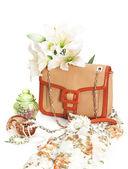 Ladies leather handbag with flowers — Stock Photo