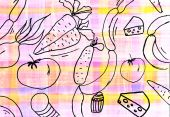Children's drawing of food background — Stock Photo