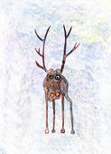 Childs drawing of a lonely deer — Stock Photo