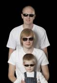 Three blonde males in sunglasses — Foto de Stock