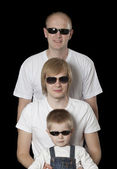 Three blonde males in sunglasses — Стоковое фото