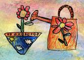 Children's drawing of watering-can with flower — Stock Photo