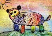 Children's drawing of a bear — Stock Photo