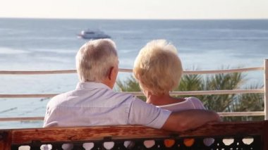 Senior couple relaxing on the bench — Stock Video