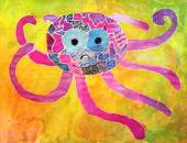 Kid's aquarelle drawing of octopus  — Stock Photo