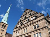 Historic town hall and church in Germany — Stock Photo