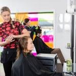 Постер, плакат: Woman Getting New Haircut By Hairstylist At Parlor
